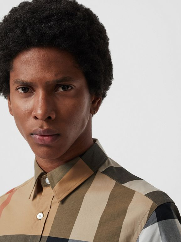 Short-sleeve Check Stretch Cotton Shirt in Camel - Men | Burberry - cell image 1