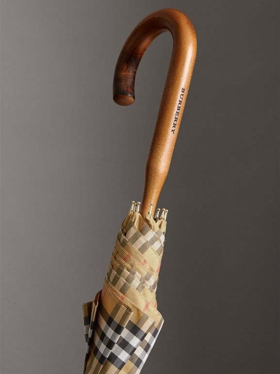 Vintage Check Walking Umbrella in Antique Yellow | Burberry - cell image 1