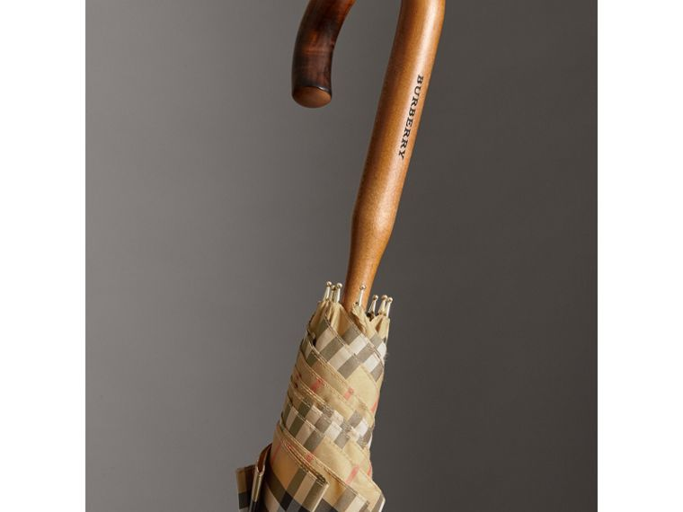 Vintage Check Walking Umbrella in Antique Yellow | Burberry Australia - cell image 1