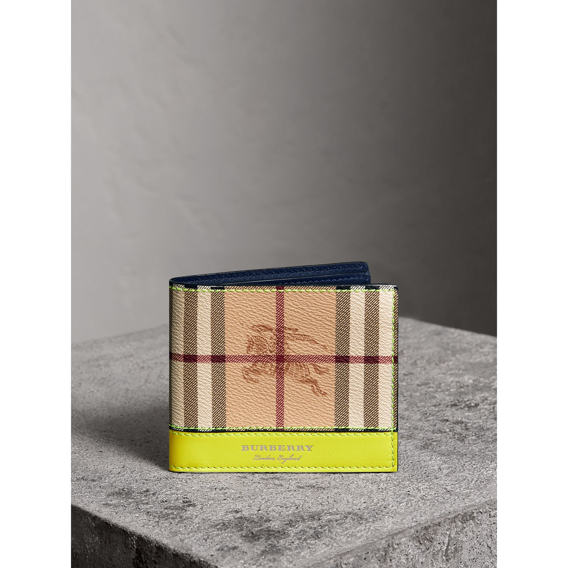 Haymarket Check International Bifold Wallet in Bright Yellow - Men | Burberry - gallery image 4