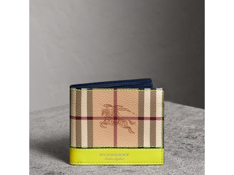 Haymarket Check International Bifold Wallet in Bright Yellow - Men | Burberry - cell image 4