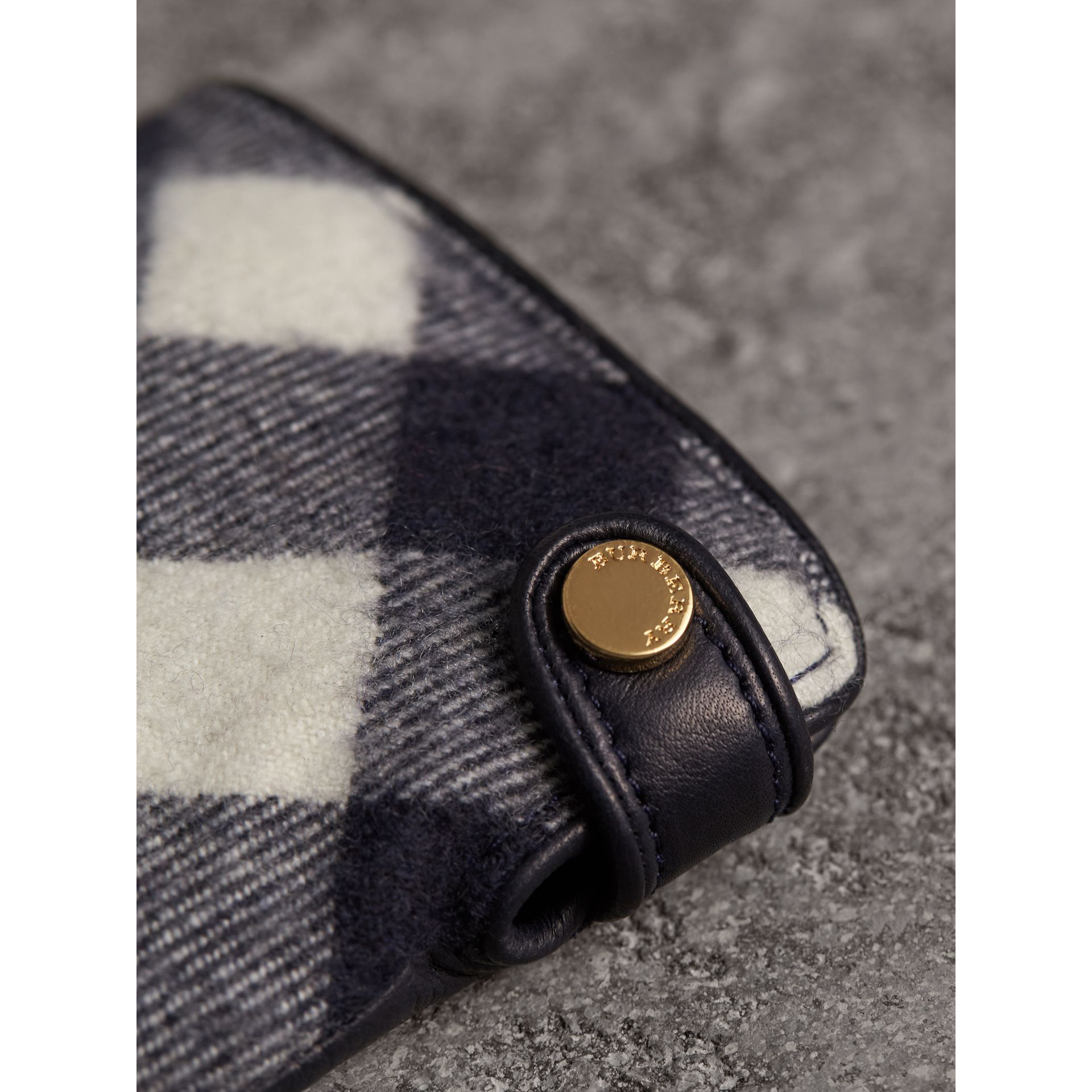 Leather and Check Cashmere Gloves in Navy - Women | Burberry - gallery image 2