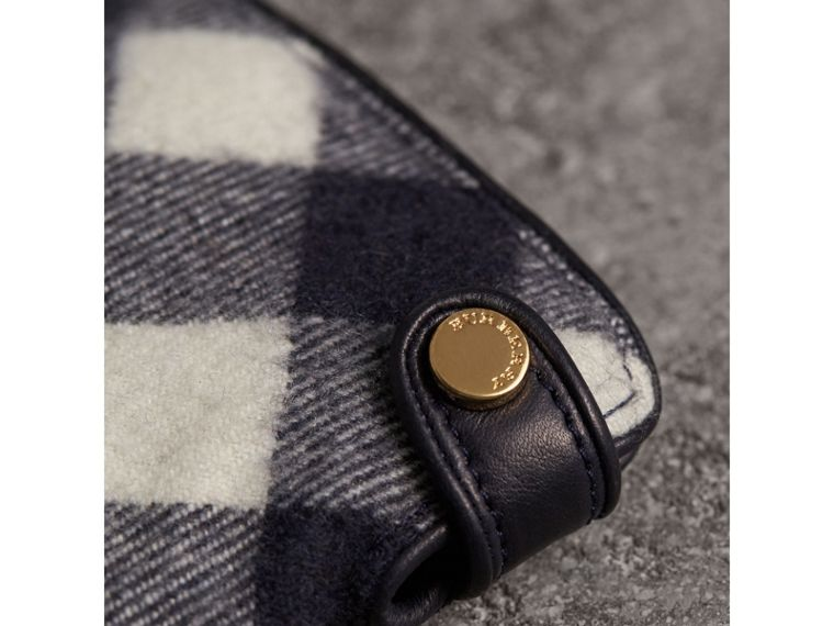 Leather and Check Cashmere Gloves in Navy - Women | Burberry - cell image 1