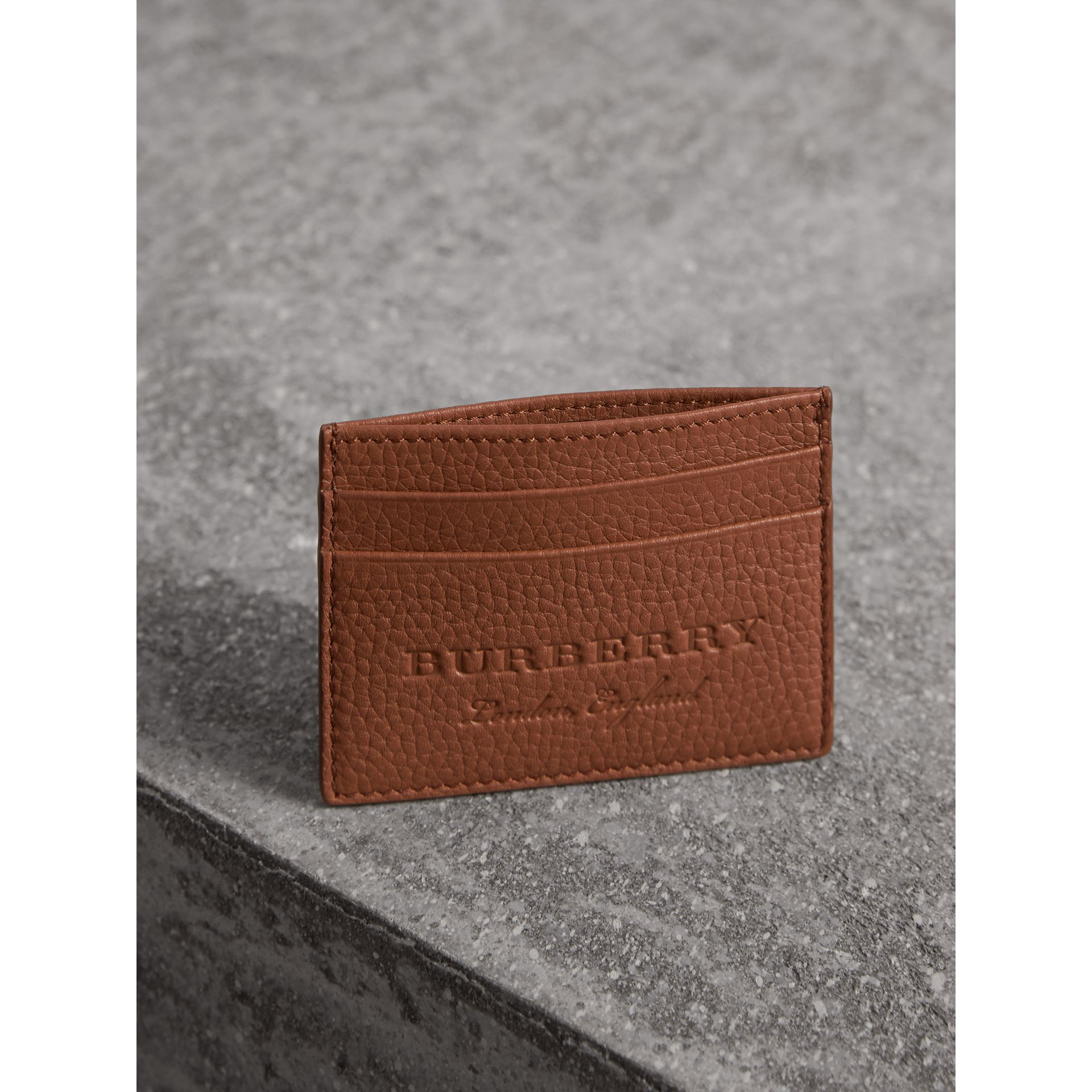 Textured Leather Card Case in Chestnut Brown | Burberry United Kingdom - gallery image 3