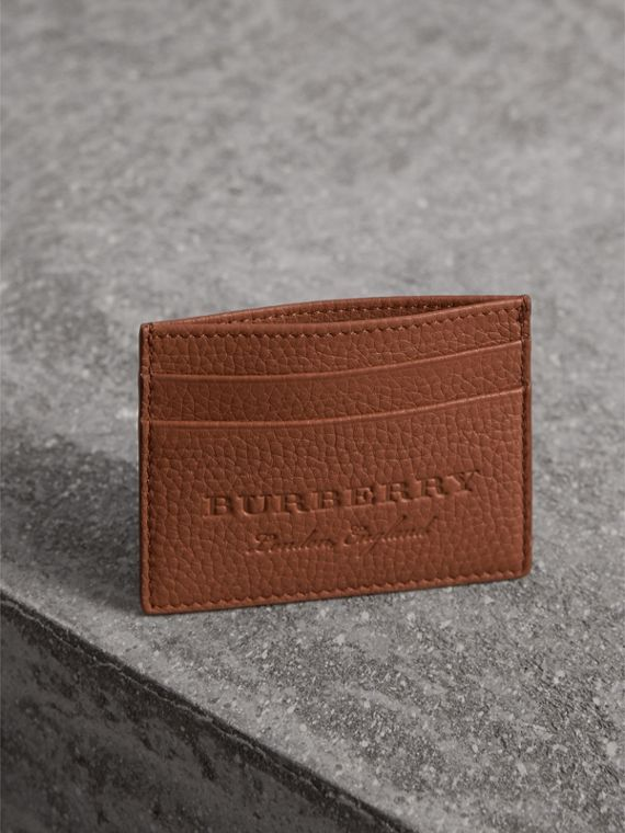 Porta carte di credito in pelle effetto texture (Chestnut Brown) | Burberry - cell image 3