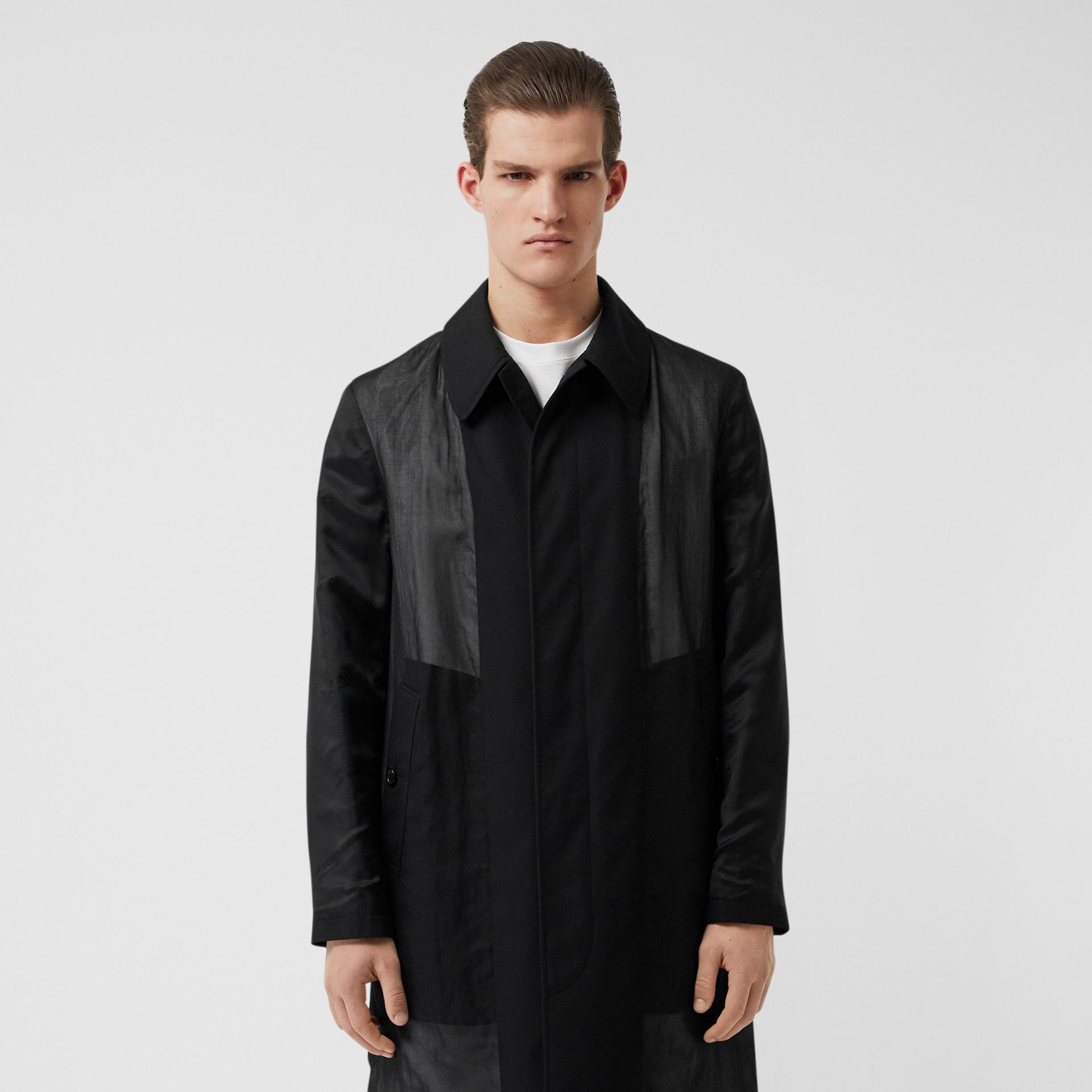 Logo Detail Panelled Cotton Gabardine Car Coat in Black - Men | Burberry - gallery image 6