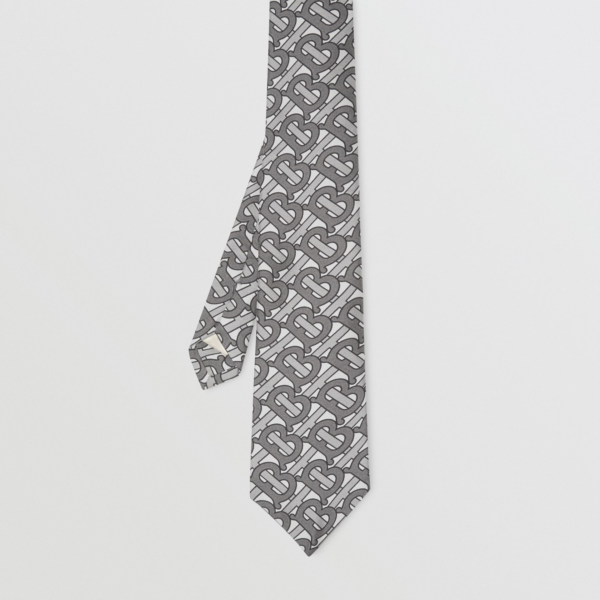 Classic Cut Monogram Print Silk Tie in Mid Grey - Men | Burberry United Kingdom - gallery image 4