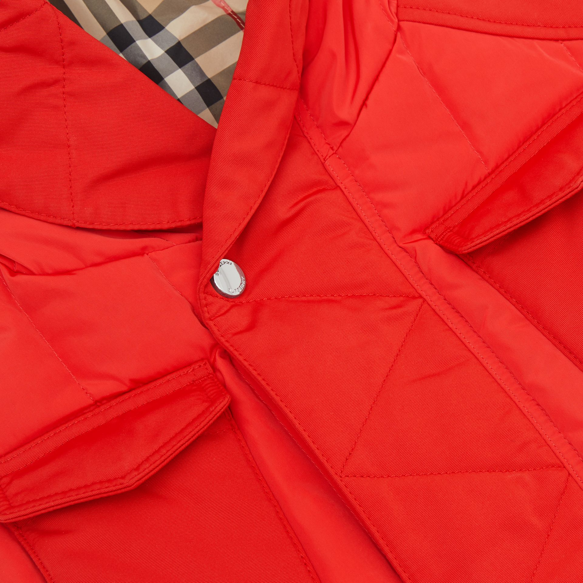 Down-filled Hooded Puffer Gilet in Bright Red | Burberry Australia - gallery image 1