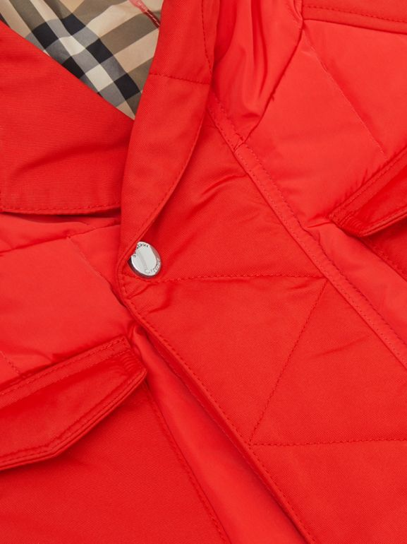Down-filled Hooded Puffer Gilet in Bright Red | Burberry Australia - cell image 1
