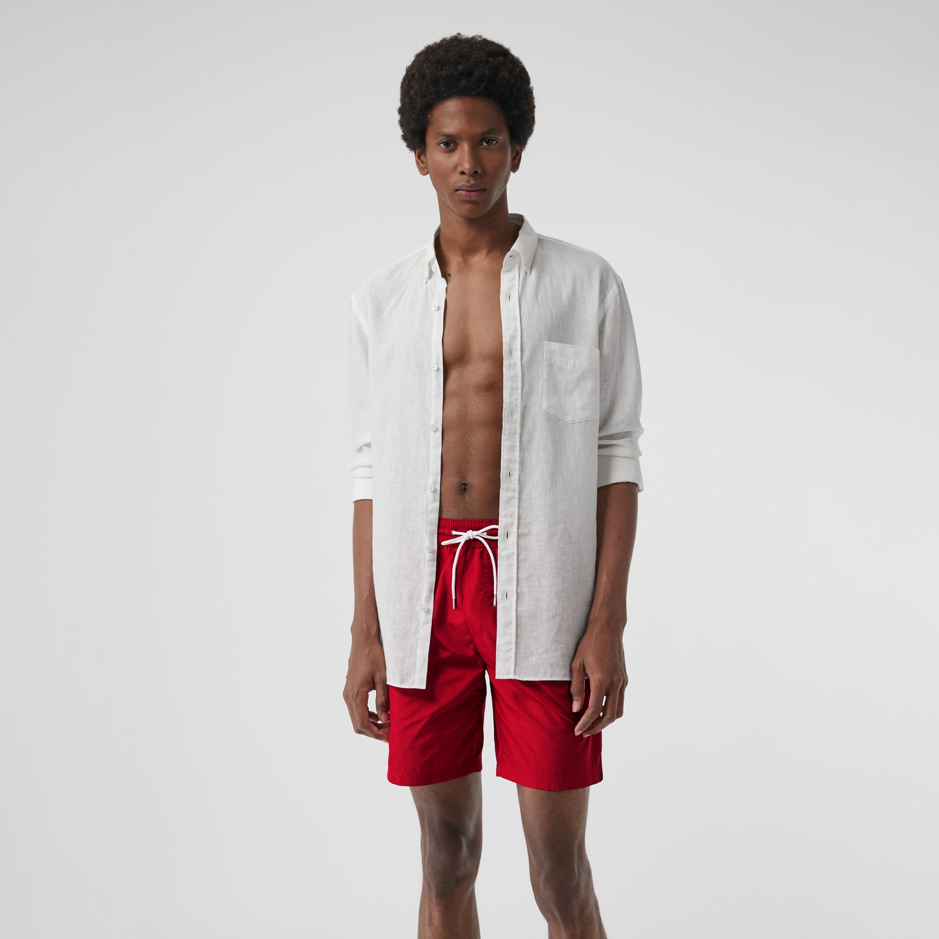 Drawcord Swim Shorts in Parade Red - Men | Burberry Canada - gallery image 0
