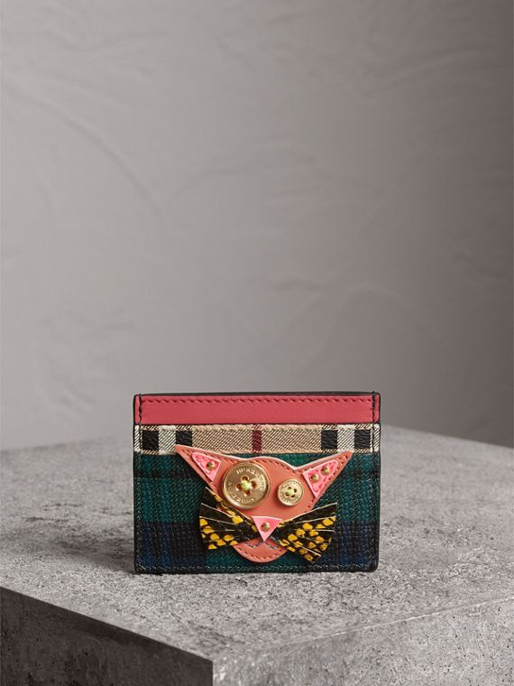 Cat Appliqué Leather and Haymarket Check Card Case in Bright Navy - Women | Burberry - cell image 3