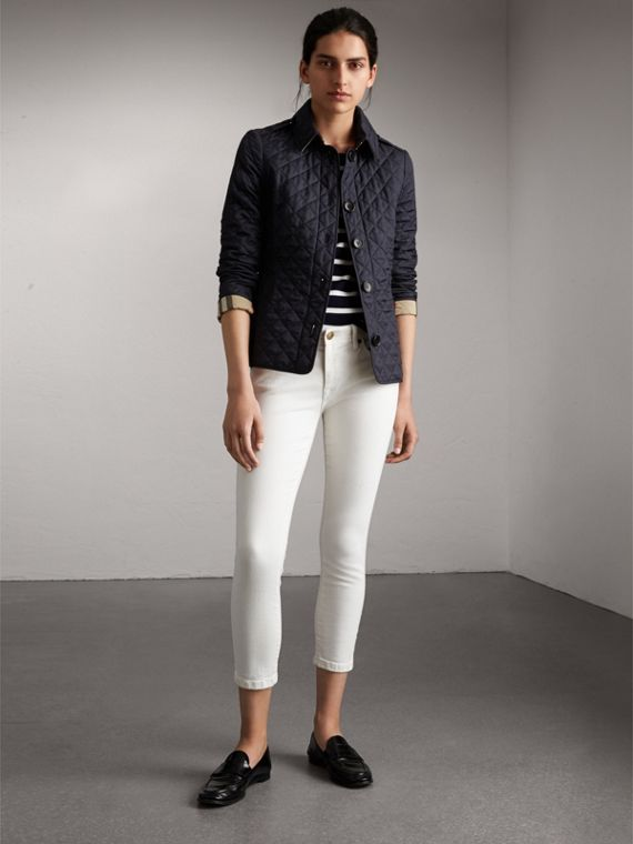 Diamond Quilted Jacket in Navy - Women | Burberry