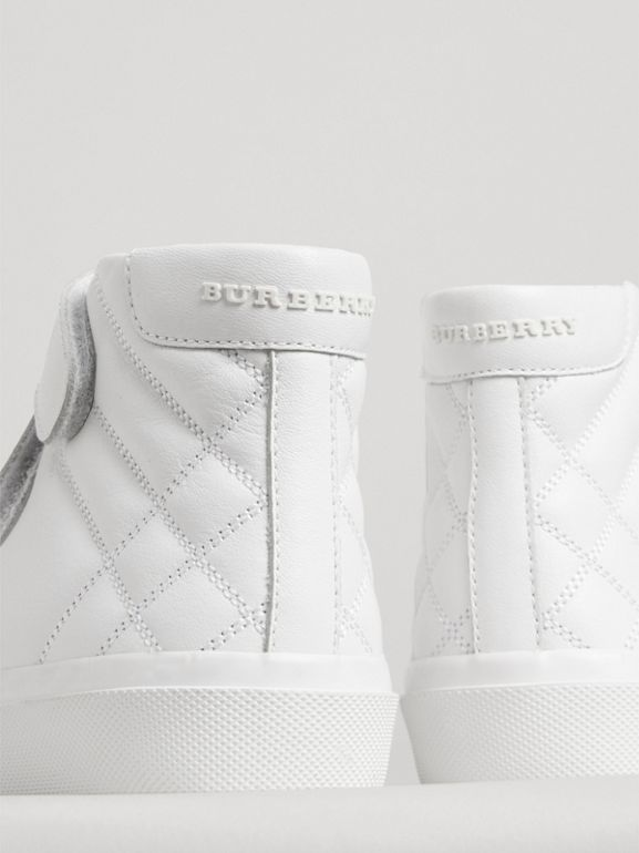 Check-quilted Leather High-top Sneakers in Optic White - Children | Burberry - cell image 1