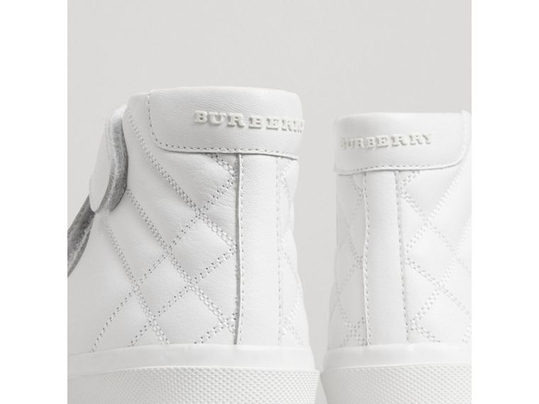 Check-quilted Leather High-top Sneakers in Optic White | Burberry - cell image 1