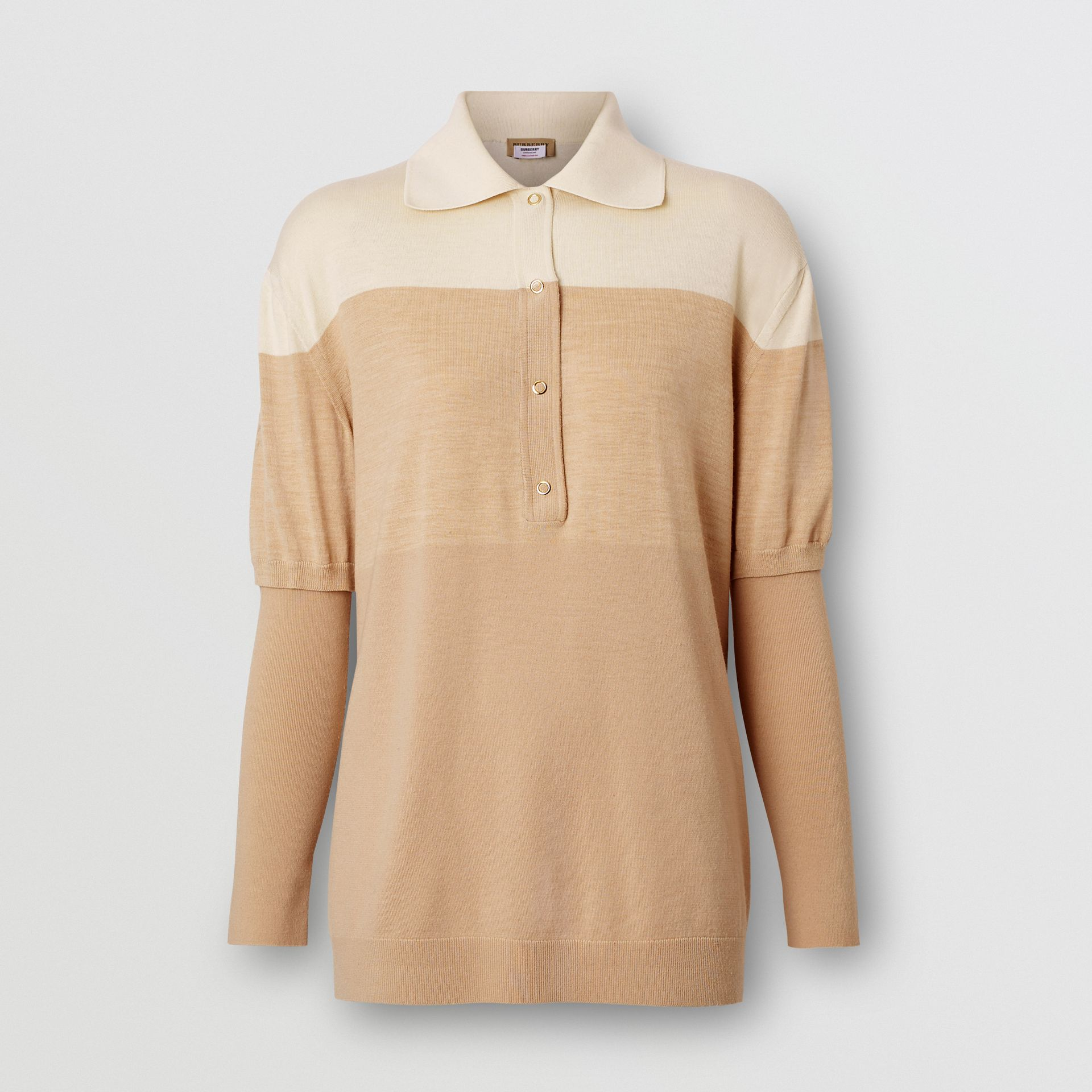 Long-sleeve Two-tone Wool Polo Shirt in Light Maize - Women | Burberry United Kingdom - gallery image 3