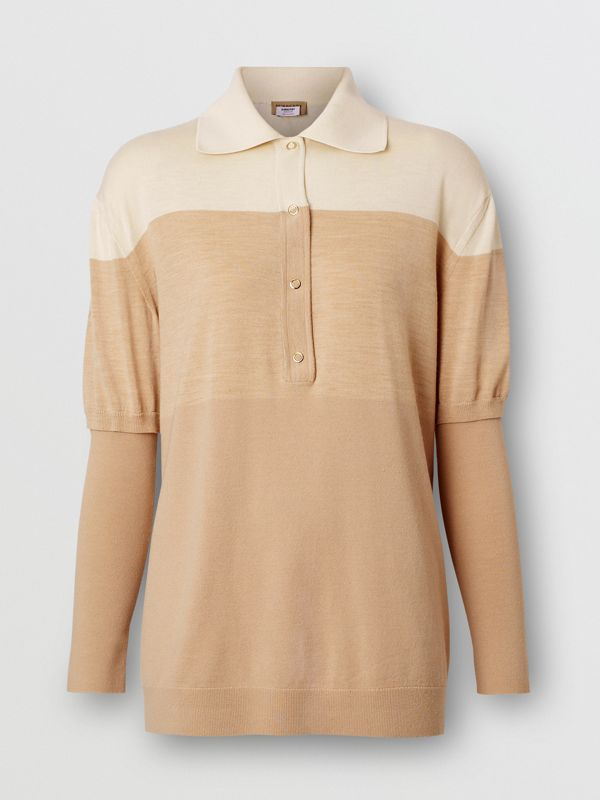 Long-sleeve Two-tone Wool Polo Shirt in Light Maize - Women | Burberry - cell image 3