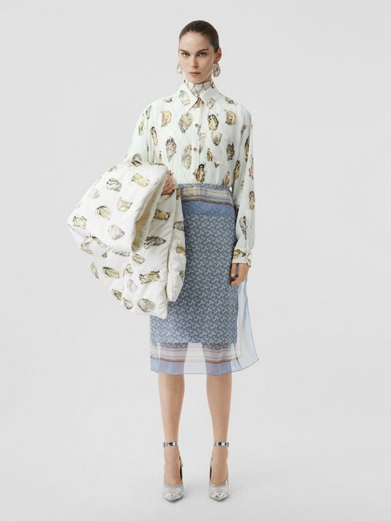 Embellished Oyster Print Silk Oversized Shirt in White