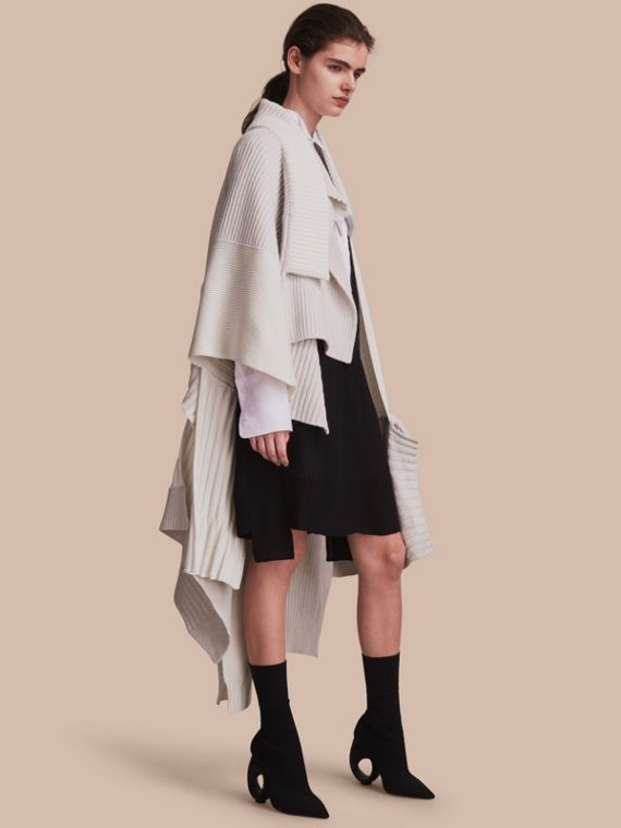 Wool Cashmere Patchwork Poncho in Natural White