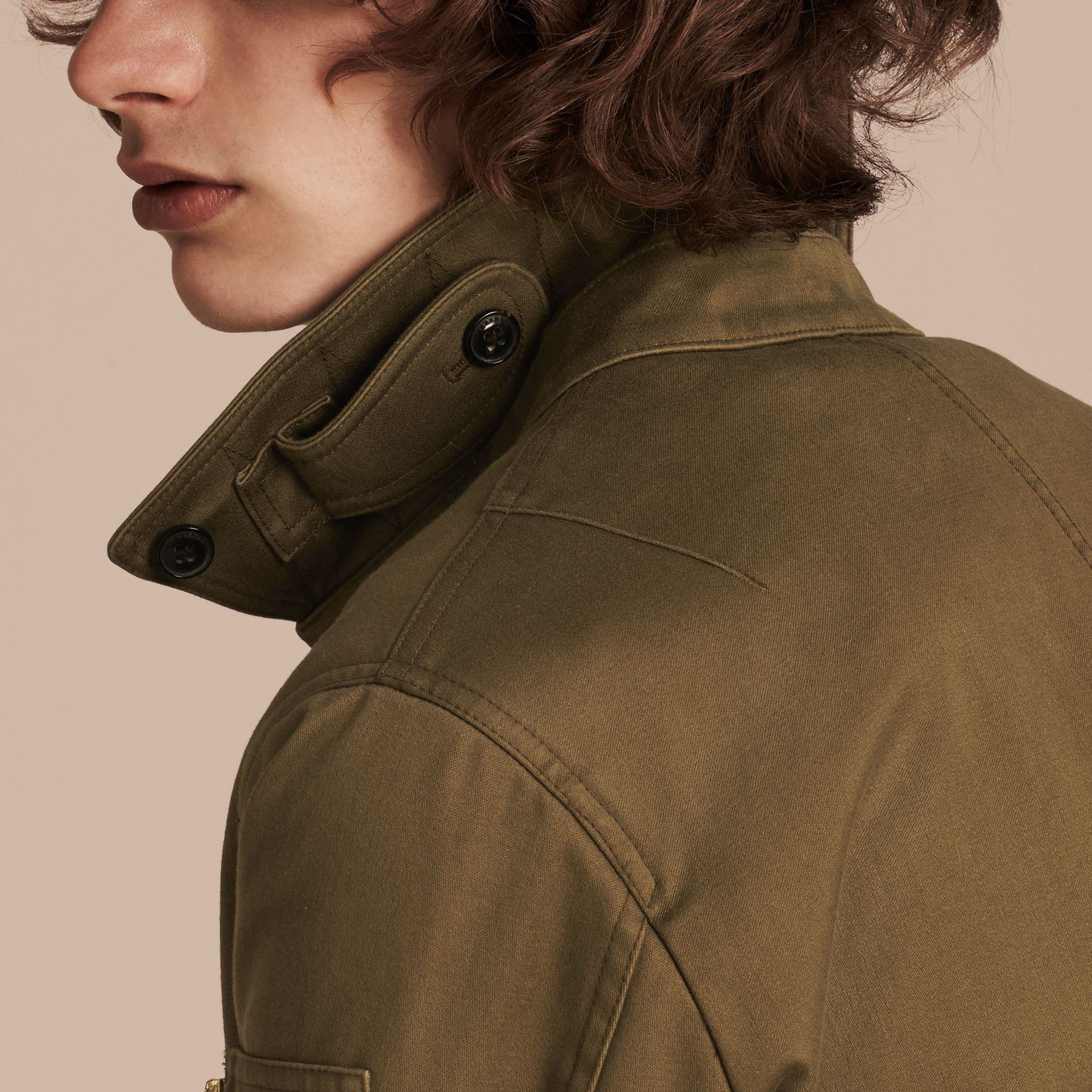 Olive green Cotton Bomber Jacket with Detachable Fur-lined Warmer - gallery image 5