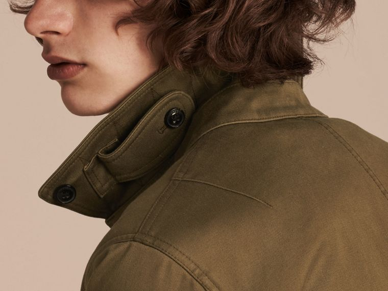 Olive green Cotton Bomber Jacket with Detachable Fur-lined Warmer - cell image 4