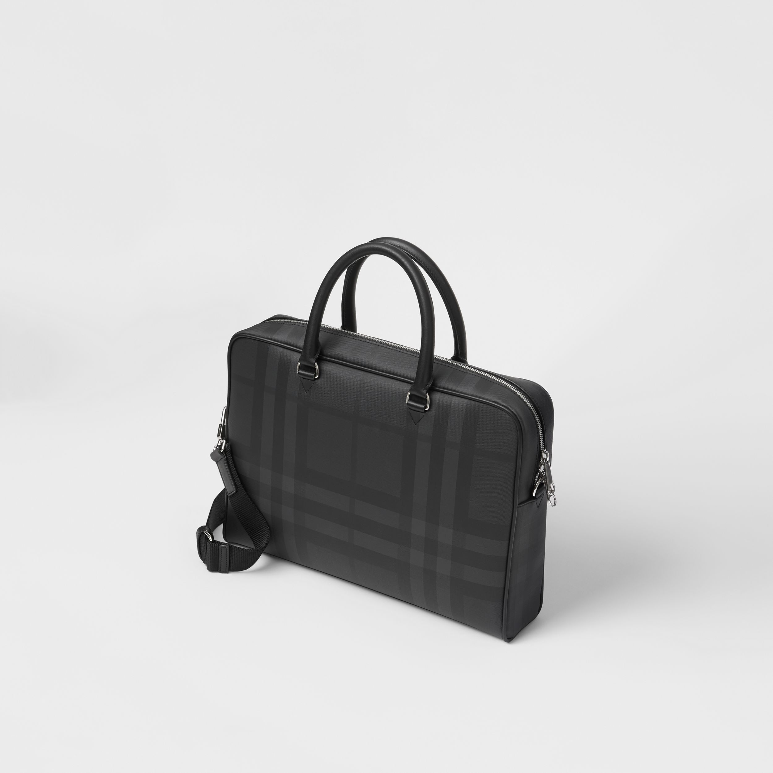 London Check and Leather Briefcase in Dark Charcoal - Men | Burberry Hong Kong S.A.R. - 4