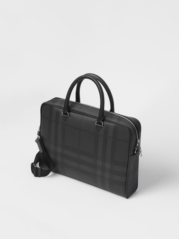London Check and Leather Briefcase in Dark Charcoal - Men | Burberry United Kingdom - cell image 3