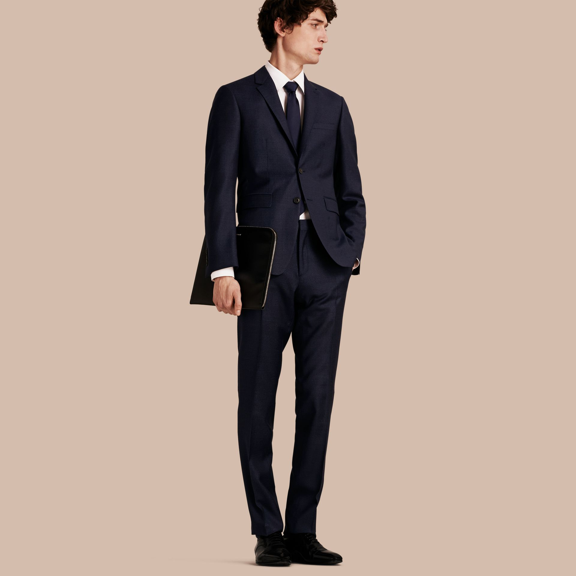 Bright navy Slim Fit Check Wool Travel Tailoring Suit - gallery image 1