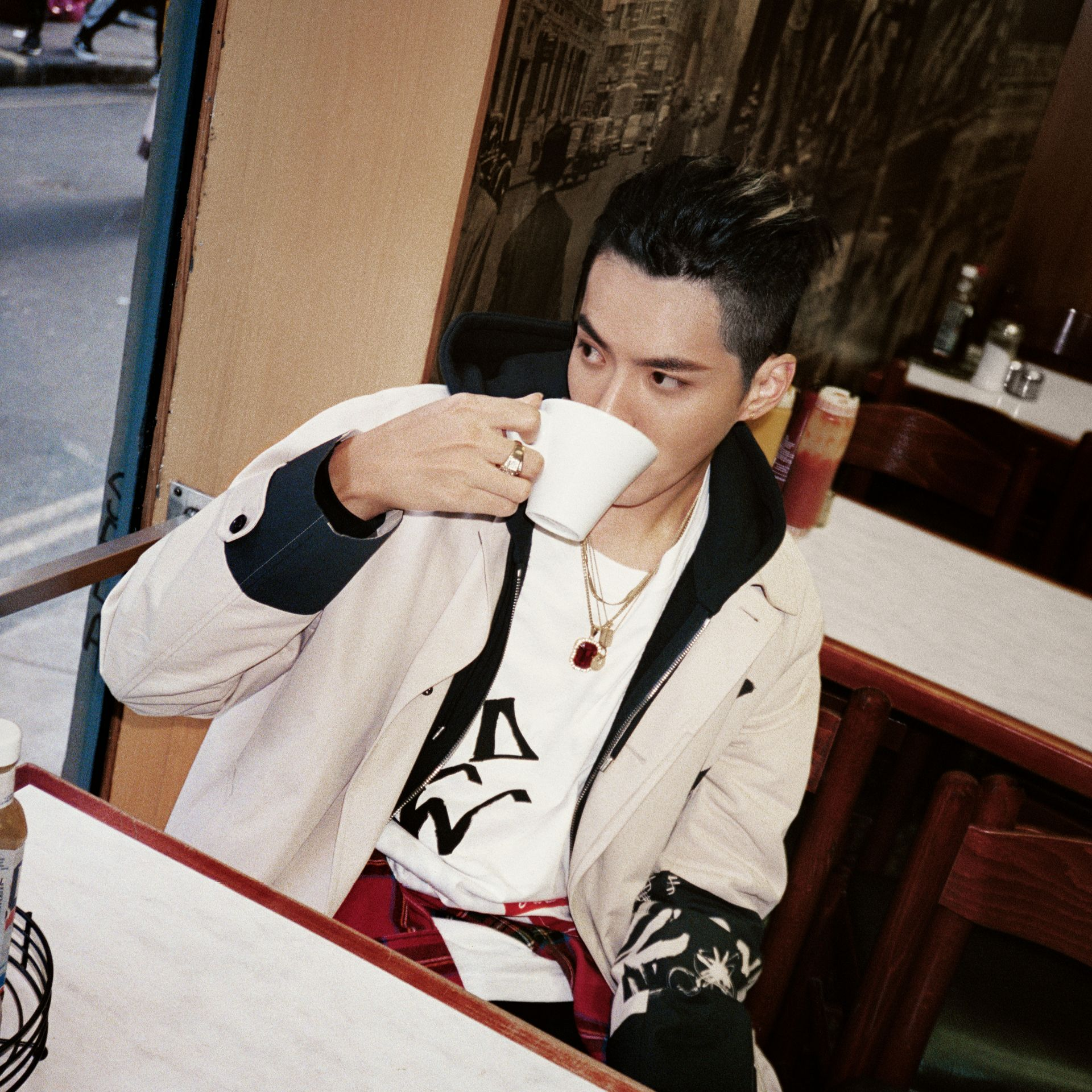 Burberry x Kris Wu Long-sleeve Printed Cotton Top in White - Men | Burberry Canada - gallery image 4