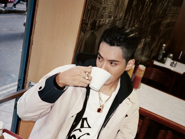 Burberry x Kris Wu Long-sleeve Printed Cotton Top in White - Men | Burberry Canada - cell image 4
