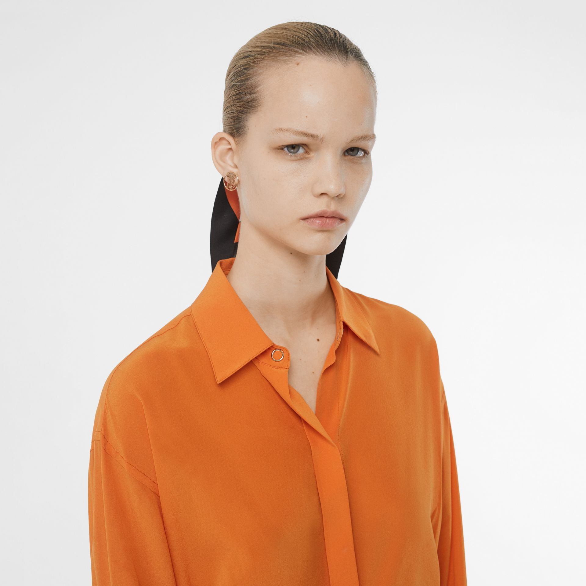 Contrast Cuff Silk Oversized Shirt in Orange - Women | Burberry - gallery image 1