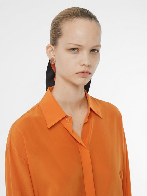 Contrast Cuff Silk Oversized Shirt in Orange - Women | Burberry - cell image 1