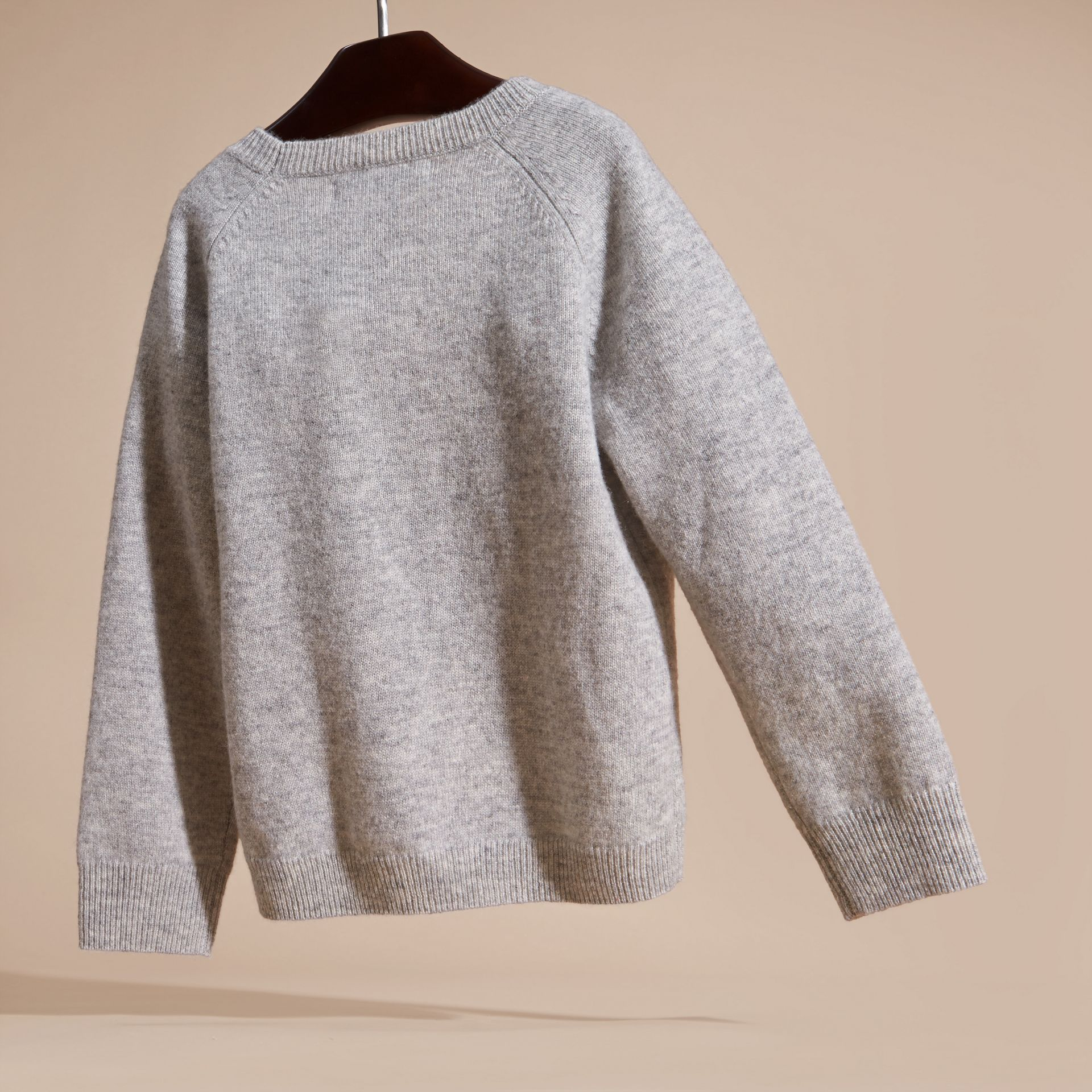 Light grey melange Cat Intarsia Cashmere Sweater - gallery image 4