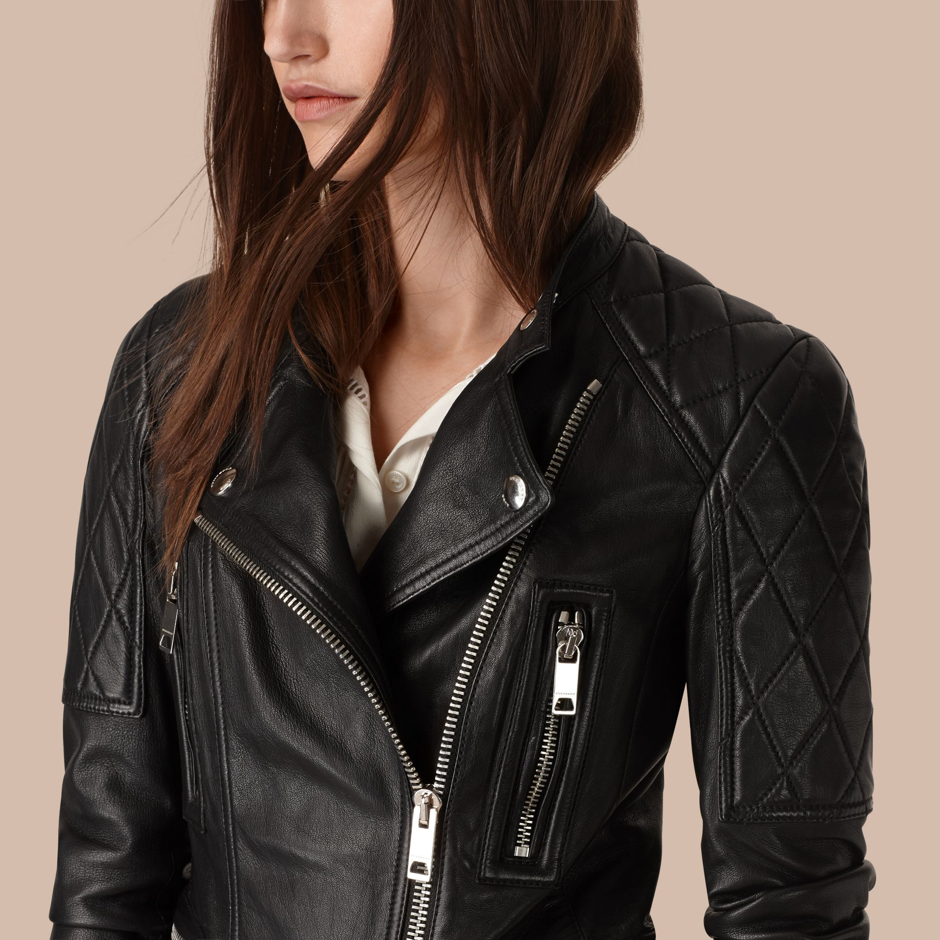 Black Panel Detail Lambskin Biker Jacket - gallery image 5