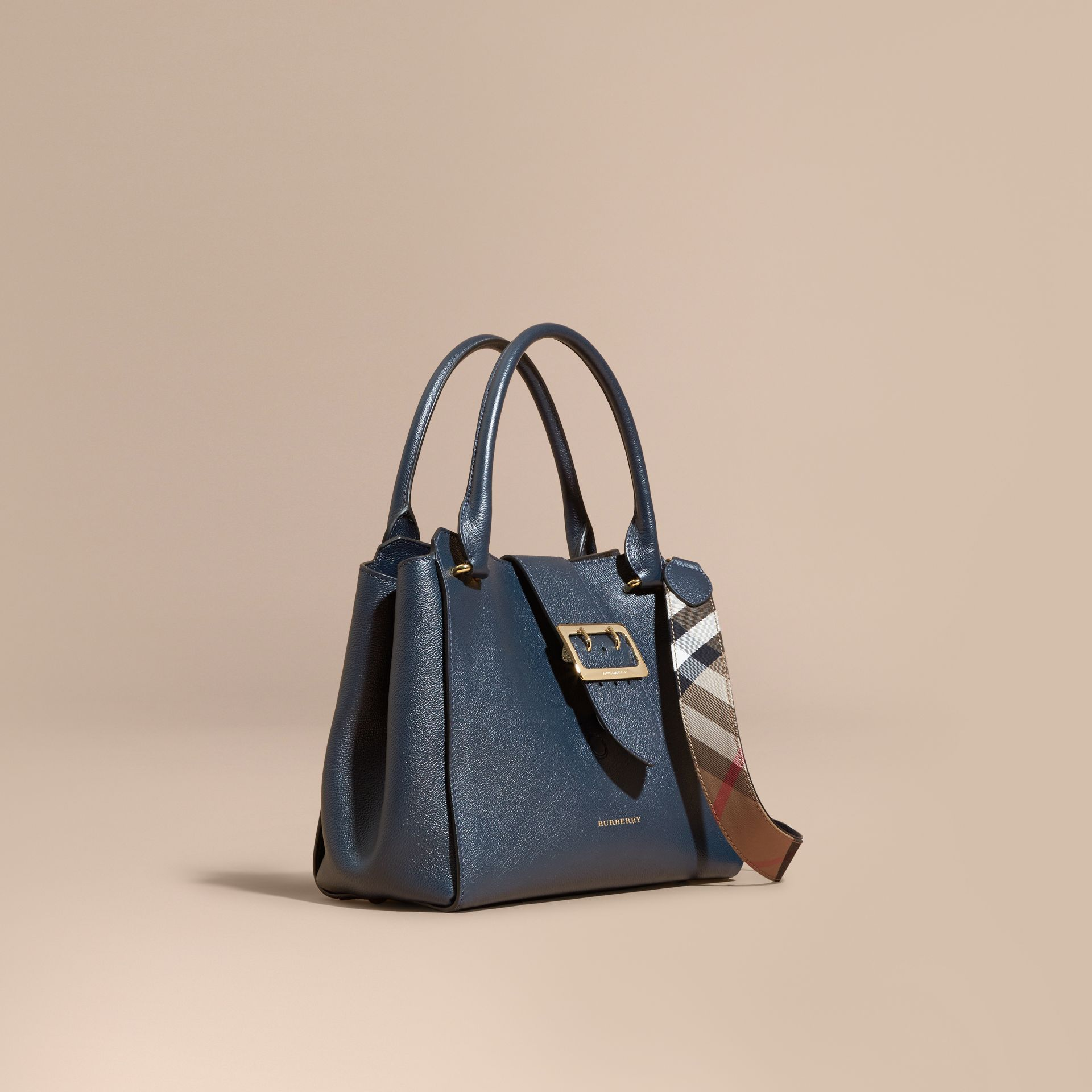 The Medium Buckle Tote in Grainy Leather Blue Carbon - gallery image 1