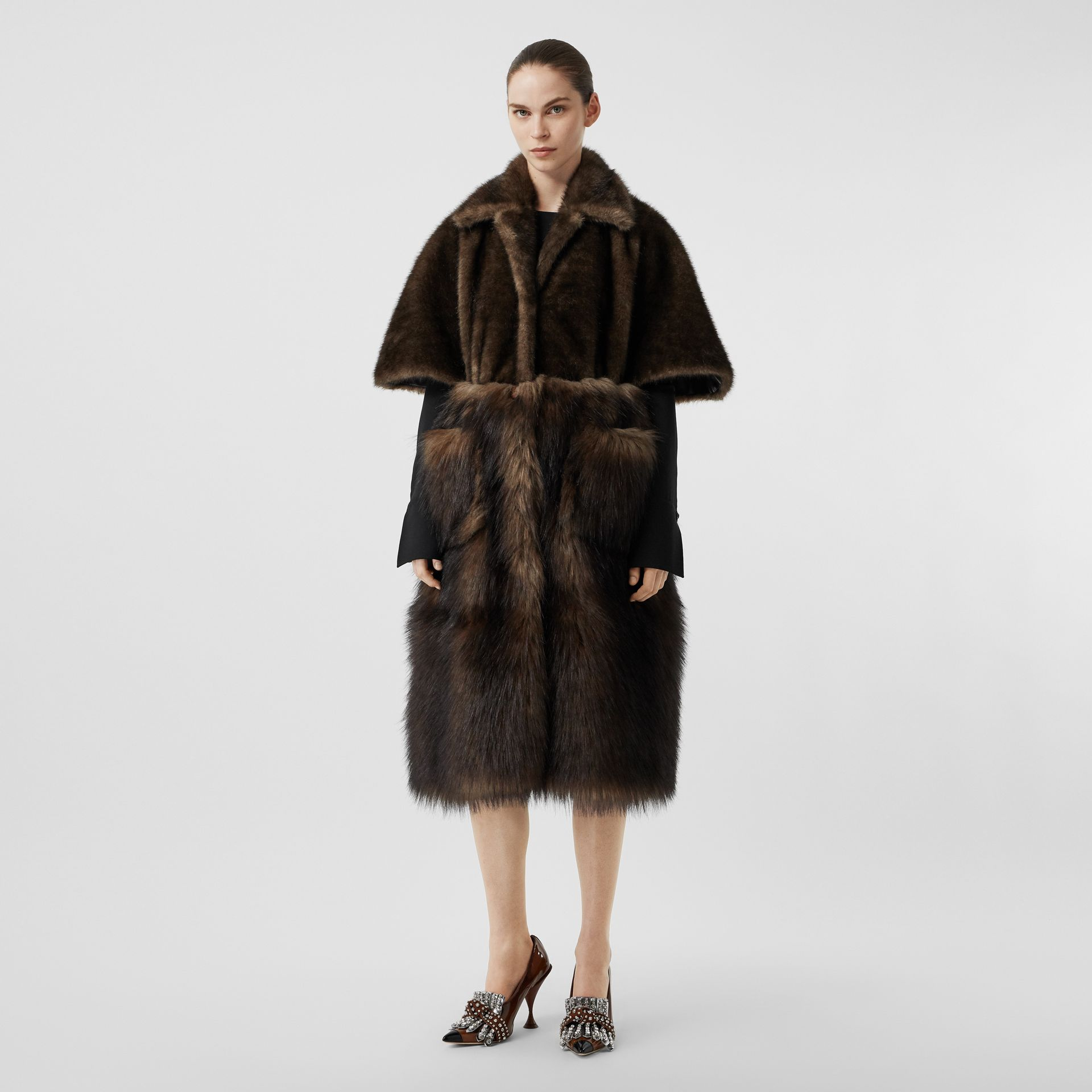 Faux Fur Cape Coat in Brown - Women | Burberry - gallery image 0