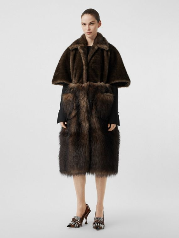 Faux Fur Cape Coat in Brown