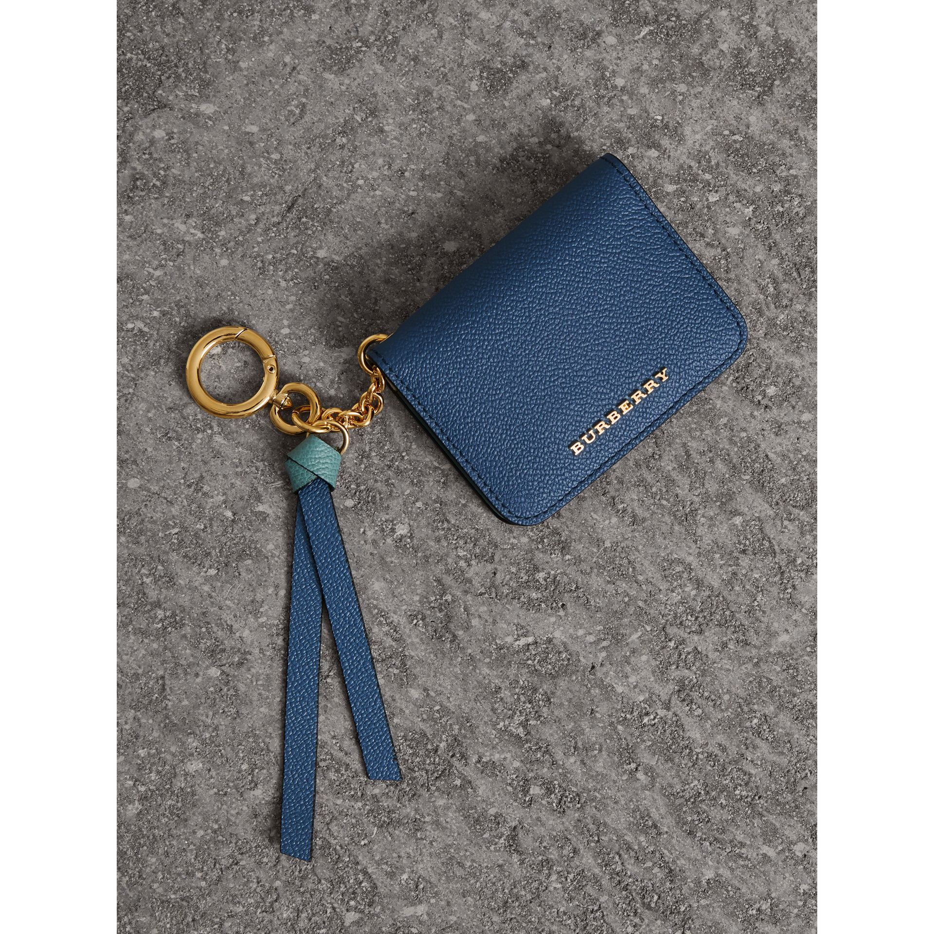 Leather and Haymarket Check ID Card Case Charm in Steel Blue/multi - Women | Burberry - gallery image 0