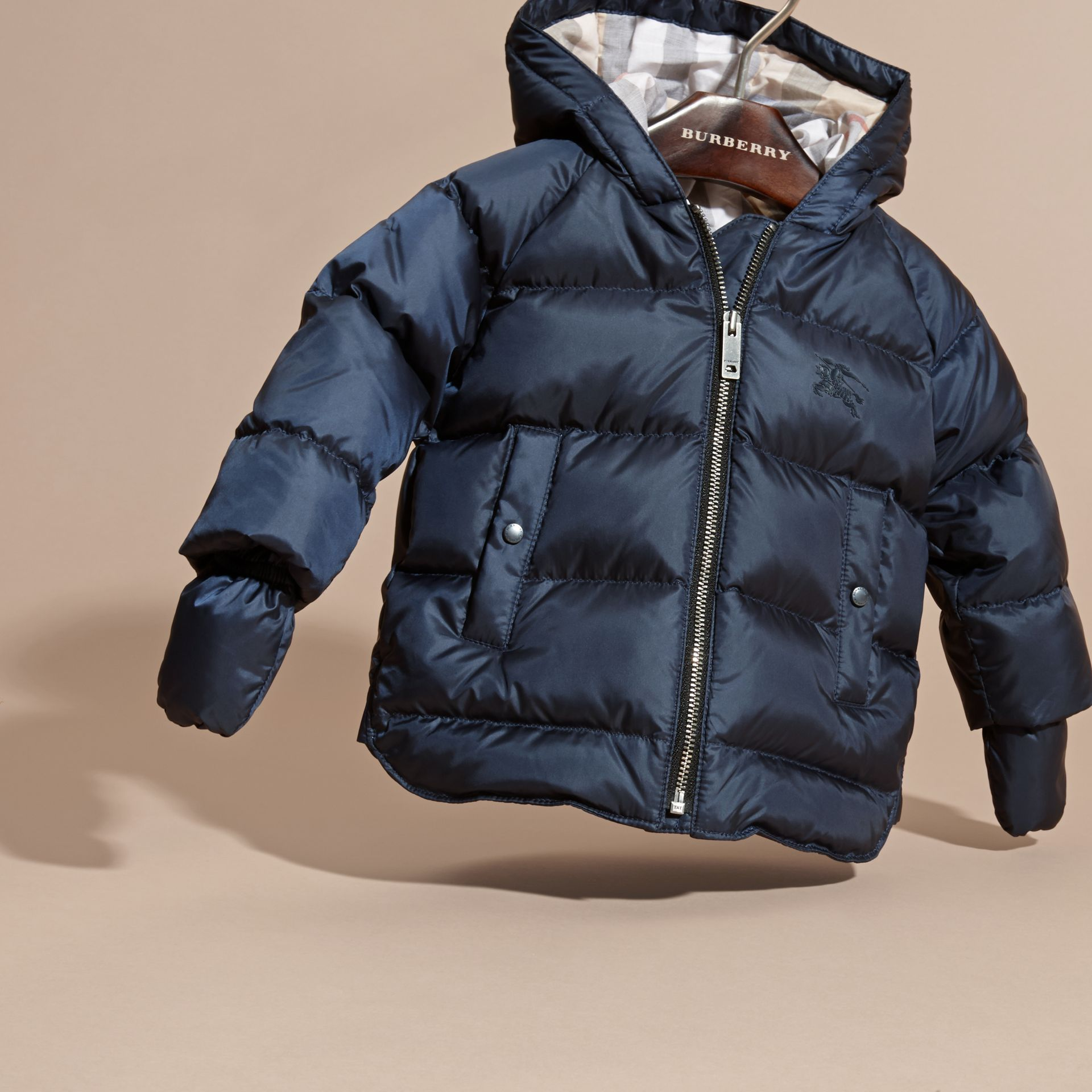 Hooded Down-filled Puffer Jacket with Mittens in Navy | Burberry Canada - gallery image 3