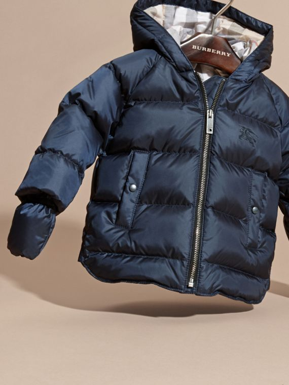 Hooded Down-filled Puffer Jacket with Mittens in Navy | Burberry - cell image 2