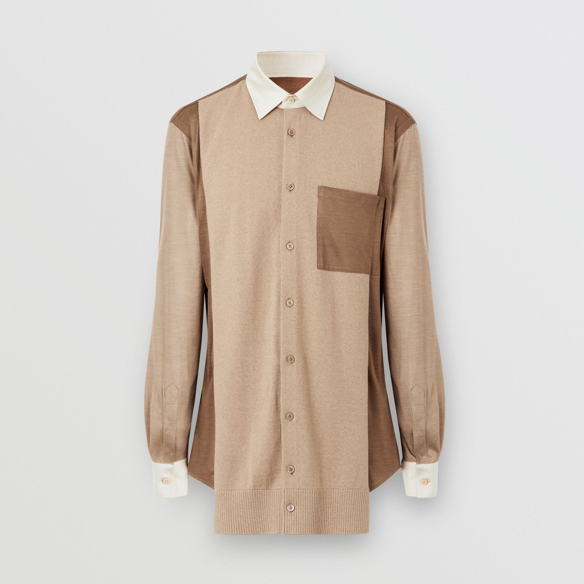 Classic Fit Panelled Silk and Merino Wool Shirt in Warm Camel - Men | Burberry United Kingdom - gallery image 3