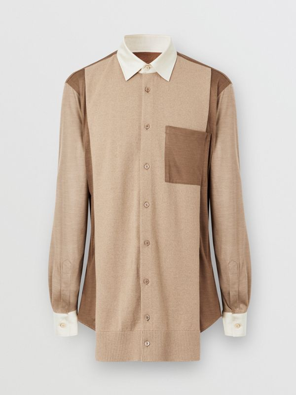 Classic Fit Panelled Silk and Merino Wool Shirt in Warm Camel - Men | Burberry - cell image 3