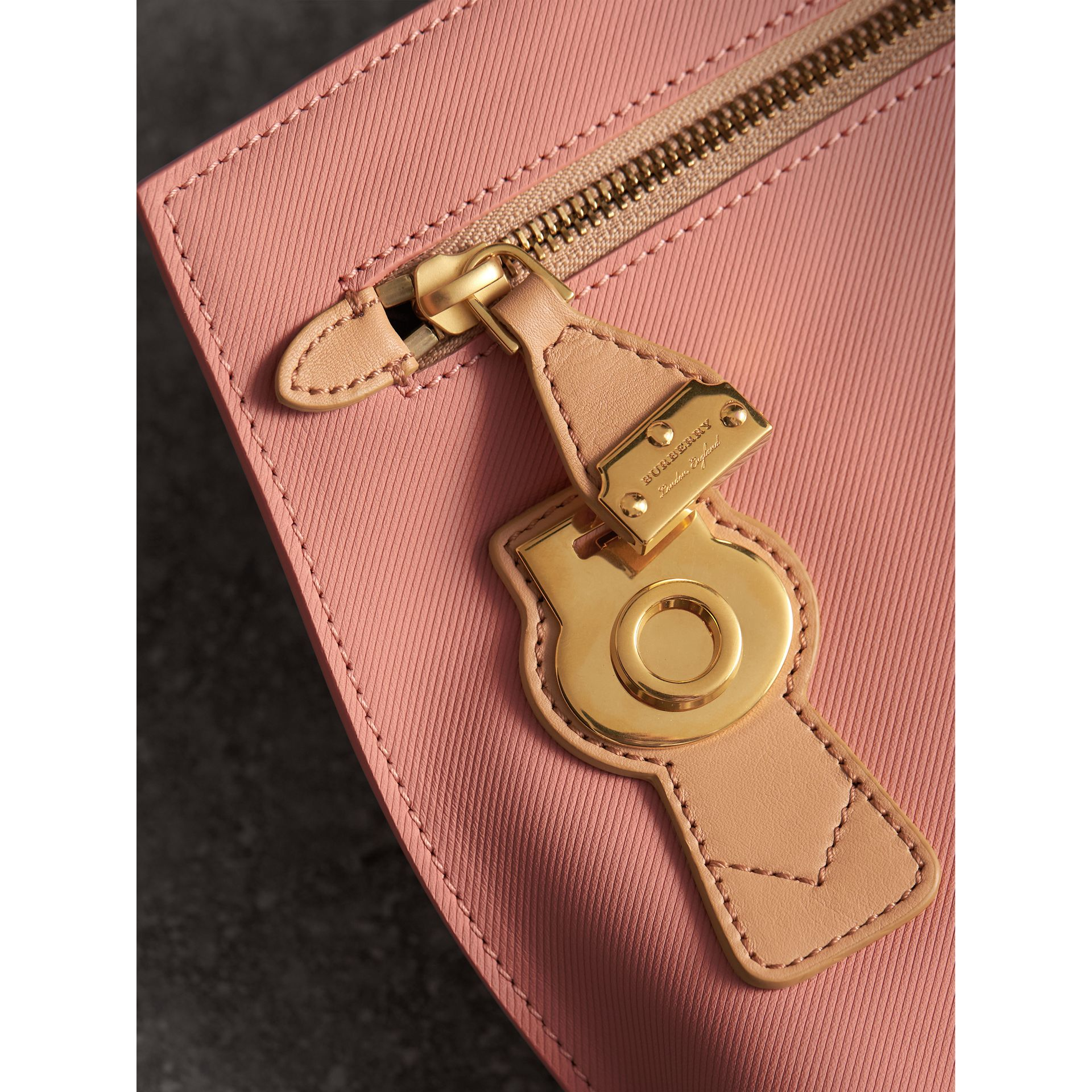 Two-tone Trench Leather Wristlet Pouch in Ash Rose/pale Clementine - Women | Burberry - gallery image 1