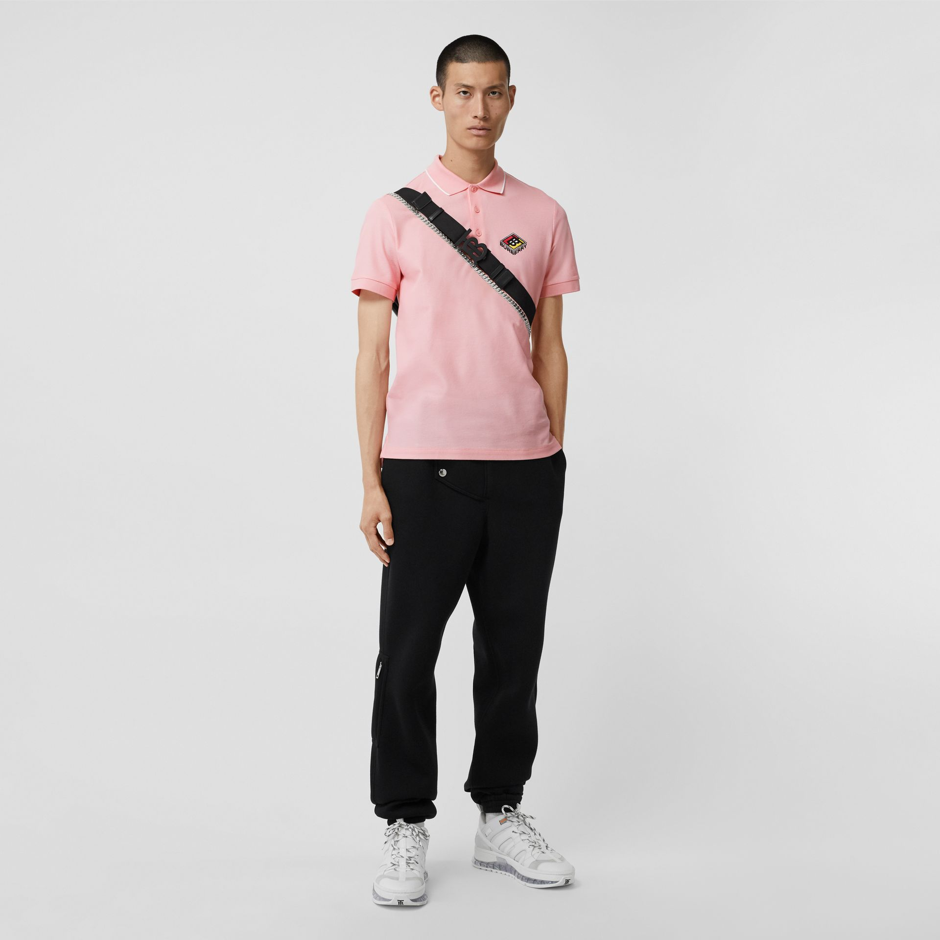 Logo Graphic Cotton Piqué Polo Shirt in Candy Pink - Men | Burberry Hong Kong S.A.R - gallery image 0