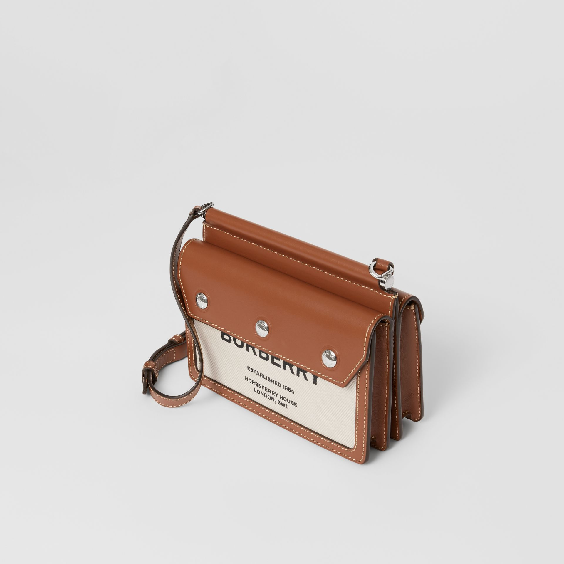 Mini Horseferry Print Title Bag with Pocket Detail in Natural/malt Brown - Women | Burberry Australia - gallery image 3
