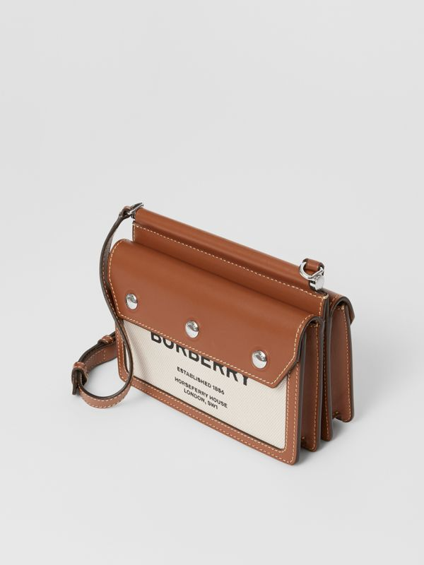 Mini Horseferry Print Title Bag with Pocket Detail in Natural/malt Brown - Women | Burberry - cell image 3