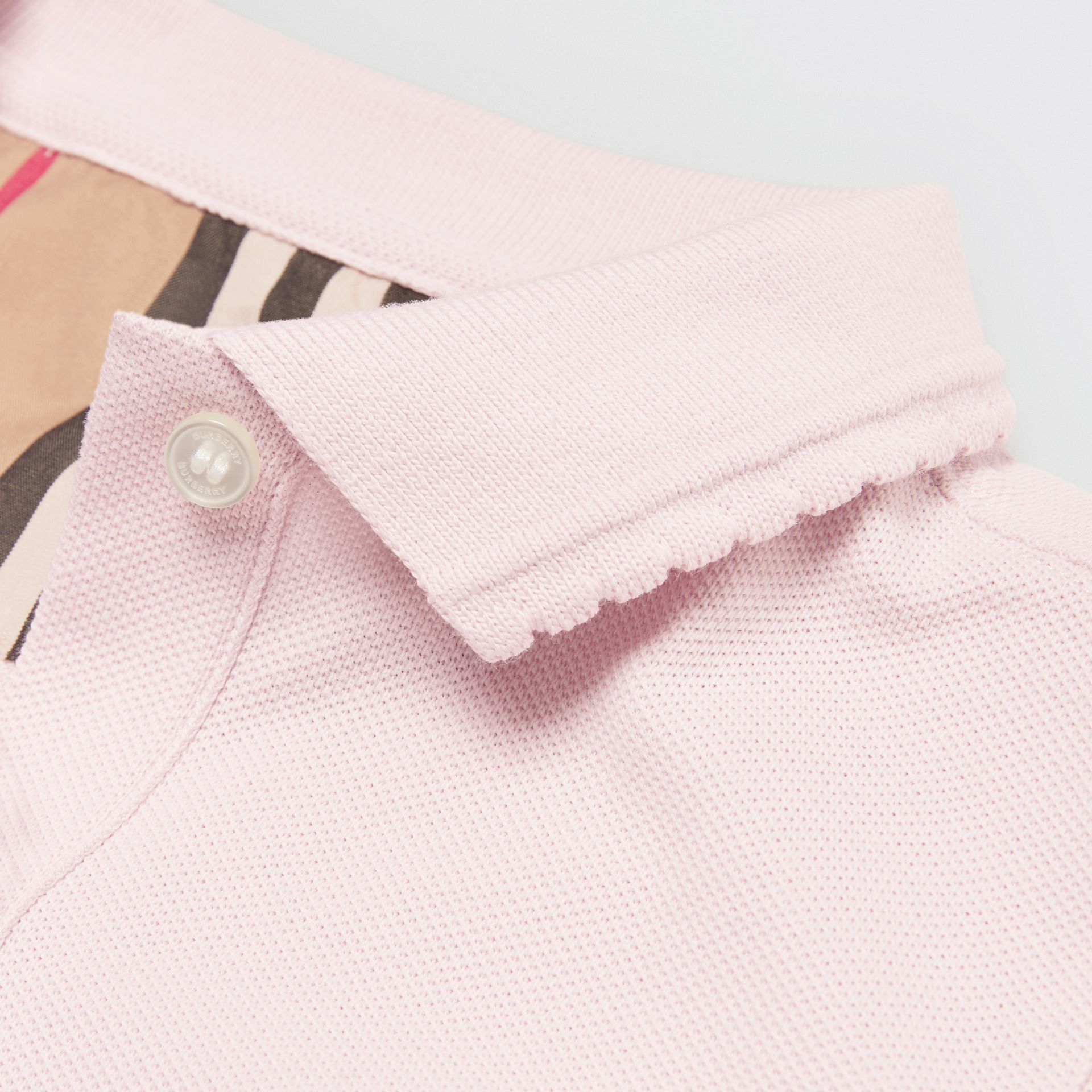 Logo Print Cotton Piqué Polo Shirt in Ice Pink | Burberry - gallery image 1