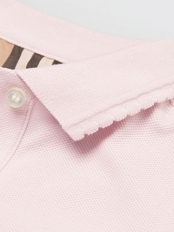 Logo Print Cotton Piqué Polo Shirt in Ice Pink | Burberry - cell image 1