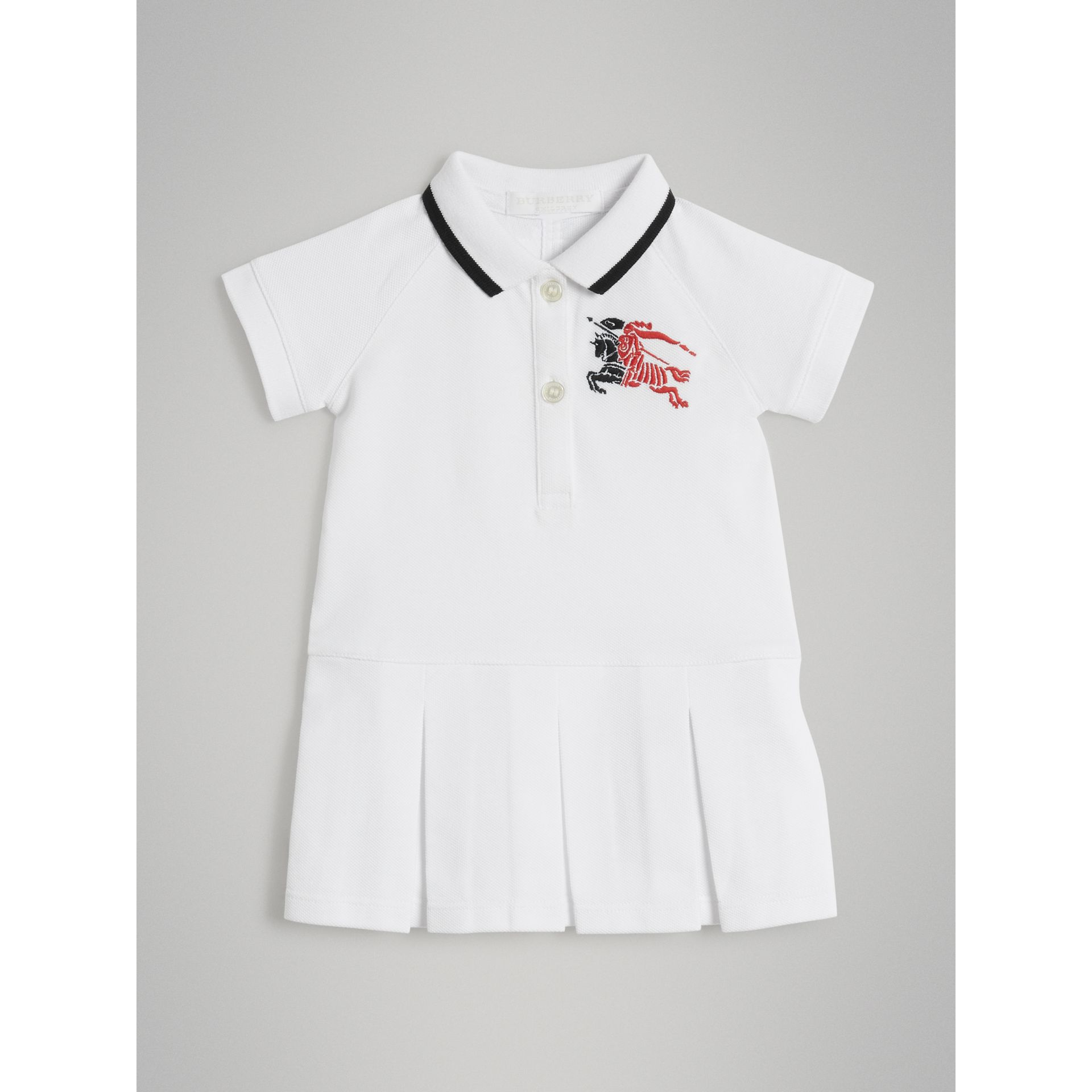 Logo Detail Tipped Cotton Polo Dress in White - Children | Burberry United States - gallery image 0