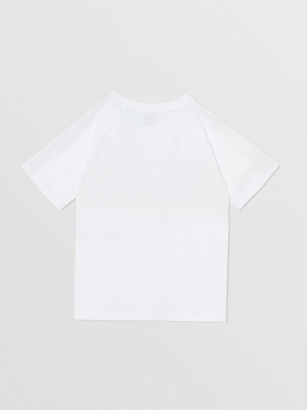 Tape Detail Location Print Cotton T-shirt in Yellow   Burberry - cell image 3