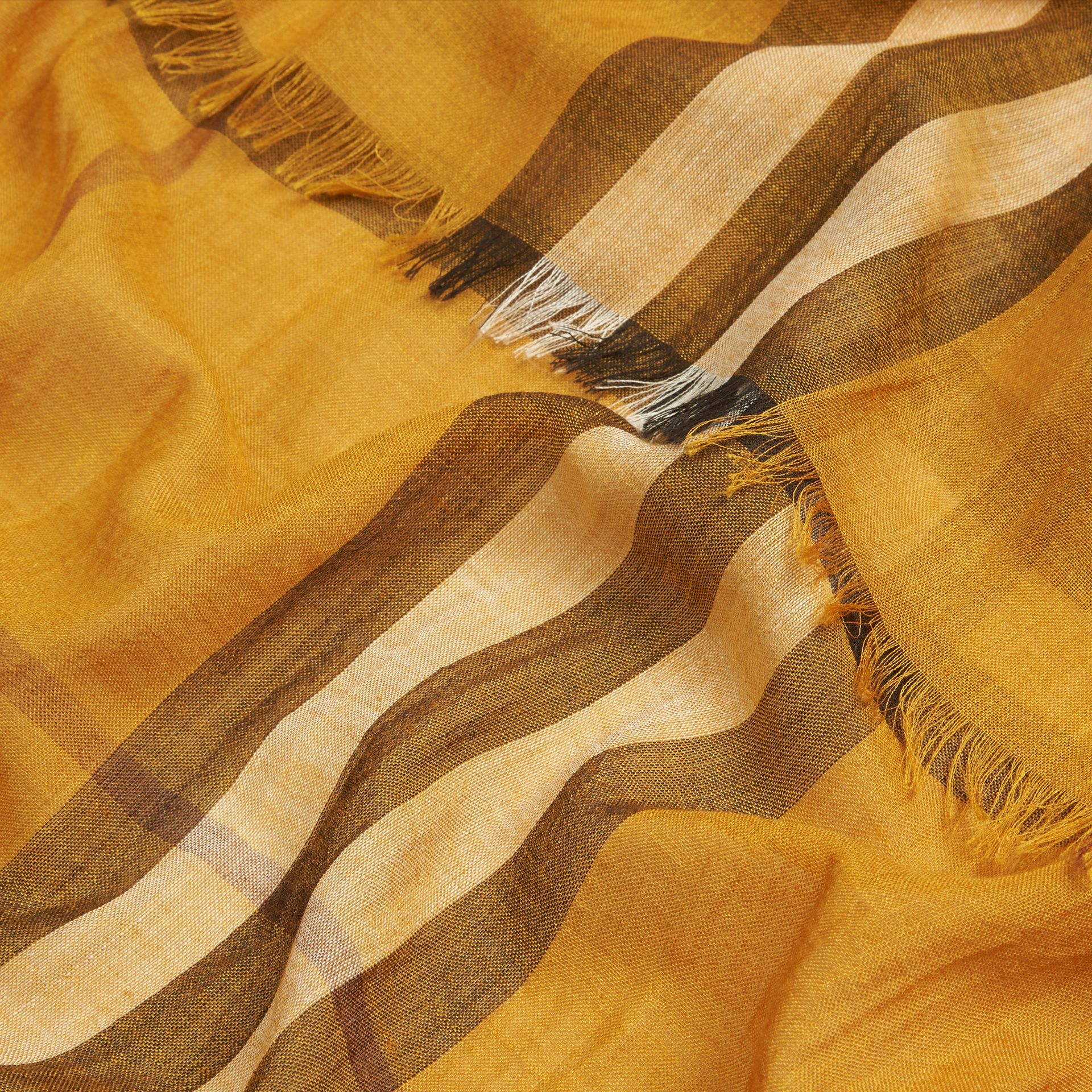 Amber yellow Lightweight Check Wool and Silk Scarf Amber Yellow - gallery image 2